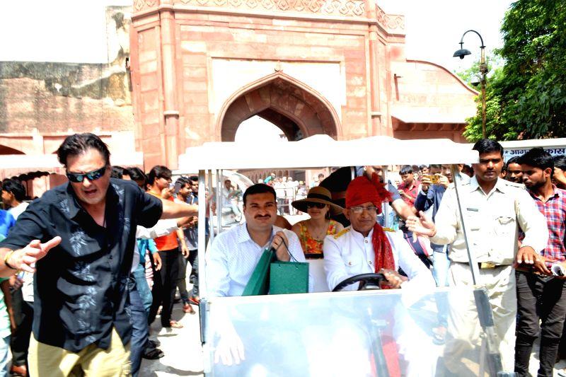 Bollywood actress Preity Zinta with her husband Gene Goodenough at the Taj Mahal, Agra on May 12, 2016. - Preity Zinta