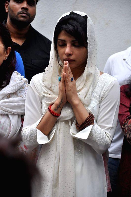 Bollywood actress Priyanka Chopra`s father Ashok Chopra who was cremated in Mumbai on June 10, 2013. - Ashok Chopra