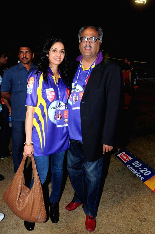 CCL match between Telugu Warriors vs Mumbai - Sridevi and Kapoor