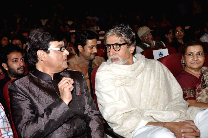 Bollywood and Marathi actor Sachin Pilgaonkar and Bollywood icon Amitabh Bachchan during a program to celebrate Sachin Pilgaonkar's 50 years in the Indian film industry in Mumbai on September 5, - Amitabh Bachchan
