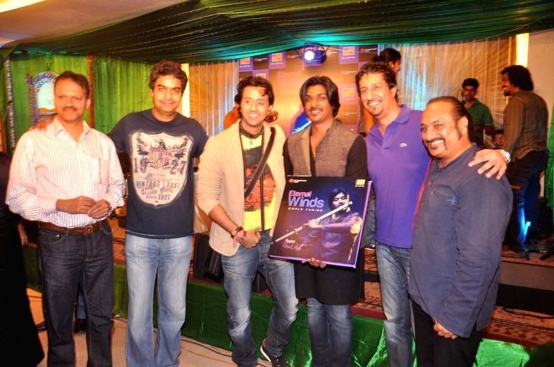 Bollywood celebrities at the launch of the album `Eternal Winds World Fusion` at Ajivasan Hall.