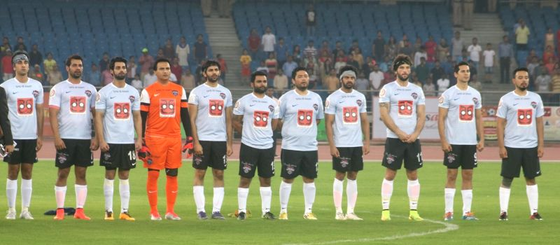 Bollywood Celebrities during a football match between Bollywood Celebrities and Members of Parliament at Jwahar Lal Nehru Stadium, in New Delhi on July 24, 2016.