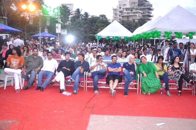 Bollywood celebrities Shankar, Ehsaan, Loy, Anu Malik, Kunal Ganjawala, Poonam Dhillon, Dolly Bindra at world environment day celebrations in Mumbai. - Malik