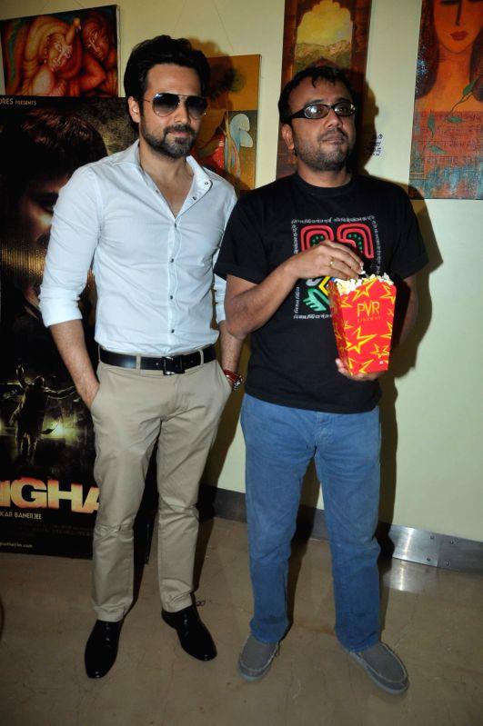 Bollywood director Dibakar Banerjee and actor Emraan Hashmi at `Shanghai` film promotional event in PVR Juhu, Mumbai. - Emraan Hashmi and Dibakar Banerjee