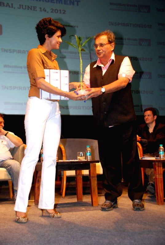 Bollywood director Subhash Ghai and bollywood actress Gu Panag at Inspiration 2012 of Whistling Woods in Film City, Mumbai.