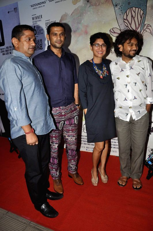 Bollywood filmmaker Mukesh Shah, actor Sohum Shah, filmmaker Kiran Rao and Anand Gandhi during the success party of the films Shahid and Ship of Theseus in Mumbai on May 13, 2014. - Sohum Shah, Mukesh Shah, Kiran Rao and Anand Gandhi