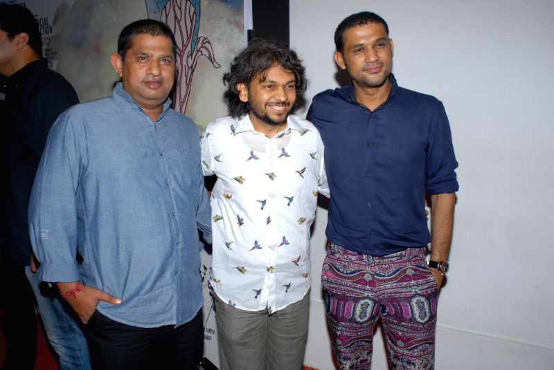 Bollywood filmmaker Mukesh Shah, actor Sohum Shah, filmmaker Anand Gandhi during the success party of the films Shahid and Ship of Theseus in Mumbai on May 13, 2014. - Sohum Shah, Mukesh Shah and Anand Gandhi
