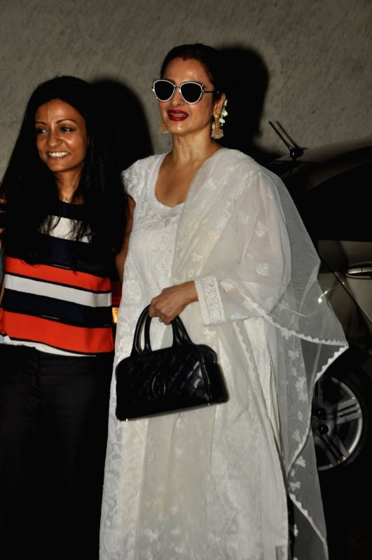 Bollywood filmmaker Sunaina Bhatnagar and actor Rekha during the screening of film Dear Maya on June 4, 2017. - Rekha