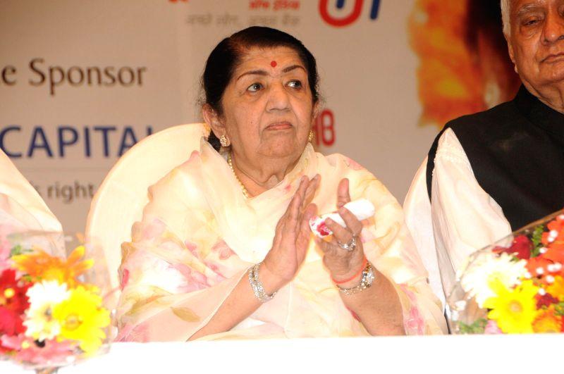 Bollywood singer Lata Mangeshkar during the 25th Master Dinanath Mangeshkar Puraskar in Mumbai on April 24, 2014.