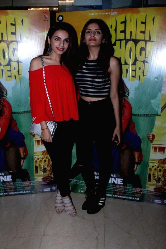 Bollywood singers Sukriti and Prakriti Kakar during the screening of film Behen Hogi Teri in Mumbai, in Mumbai, on June 7, 2017.