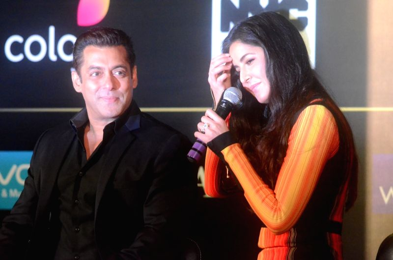Bollywood star Salman Khan and Katrina Kaif during the press conference to reveal details about 18th edition of the International Indian Film Academy (IIFA) Awards in Mumbai on June 1, 2017. - Katrina Kaif and Salman Khan