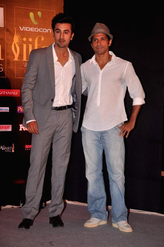 Bollywood stars Ranbir Kapoor and Farhan Akhtar during `Jaypee IIFA` press meet held in Mumbai. - Farhan Akhtar and Ranbir Kapoor