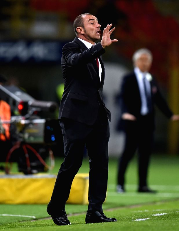 BOLOGNA, May 8, 2016 - Brocchi, coach of AC Milan, gestures during the 2015-2016 season Serie A football match against Bologna in Bologna, Italy, May 8, 2016. AC Milan won 1-0.