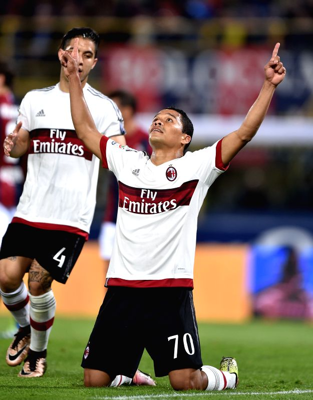 BOLOGNA, May 8, 2016 - Carlos Bacca (C)of AC Milan celebrates after scoring during the 2015-2016 season Serie A football match against Bologna in Bologna, Italy, May 8, 2016. AC Milan won 1-0.