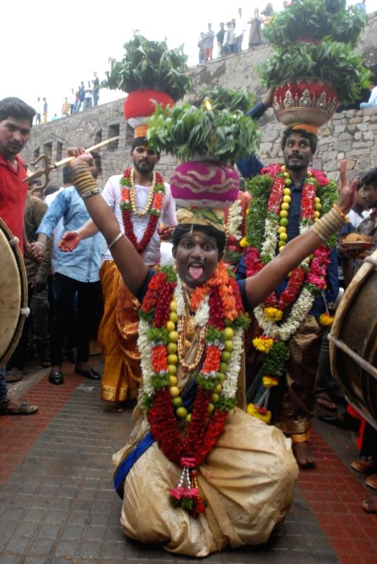 Bonalu Festival celebrations underway in Hyderabad on July 15, 2018.