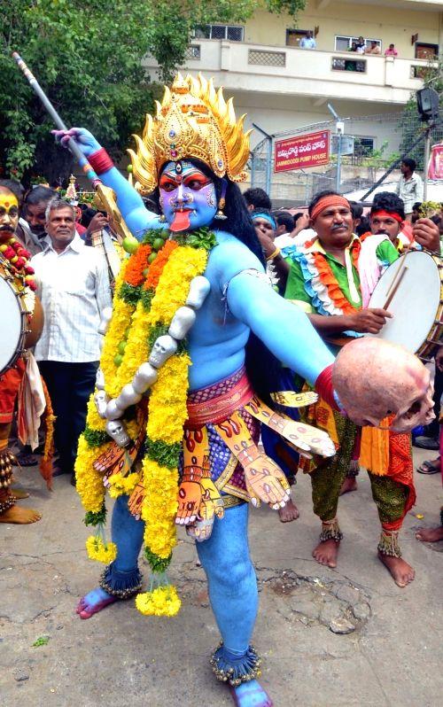 Bonalu Festival celebrations underway, in Vijayawada on July 22, 2018.