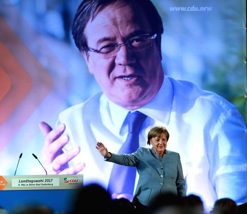 BONN, May 5, 2017 - German Chancellor Angela Merkel attends a Christian Democratic Union (CDU) campaign rally for state elections in North Rhine-Westphalia in Bonn, Germany, on May 4, 2017.