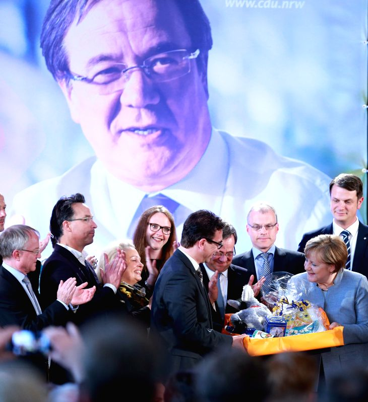BONN, May 5, 2017 - German Chancellor Angela Merkel (R front) attends a Christian Democratic Union (CDU) campaign rally for state elections in North Rhine-Westphalia in Bonn, Germany, on May 4, 2017.
