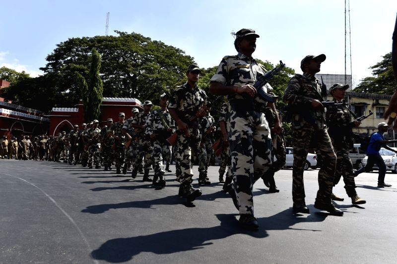 Border Security Force conduct flag march ahead of Tamil Nadu assembly polls in Chennai on May 14, 2016.