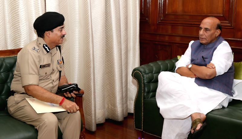 Border Security Force Director General KK Sharma calls on the Union Home Minister Rajnath Singh in New Delhi on April 28, 2017. - Rajnath Singh