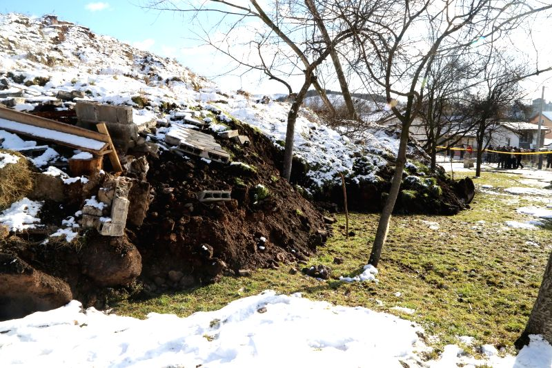 Photo taken on Jan. 5, 2015 shows the site where the land slide took place in the village Bare, nearby Kakanj, Bosnia-Herzegovina. A land slide occured in the