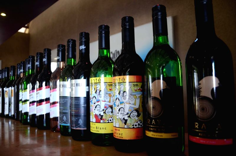 "Bottles of wine on display during ""Indian Wine Festival"" jointly organised by ""Indian Grapes Harvest"" and Maharashtra Tourism Development Corporation (MTDC) in Nasik on Feb ..."
