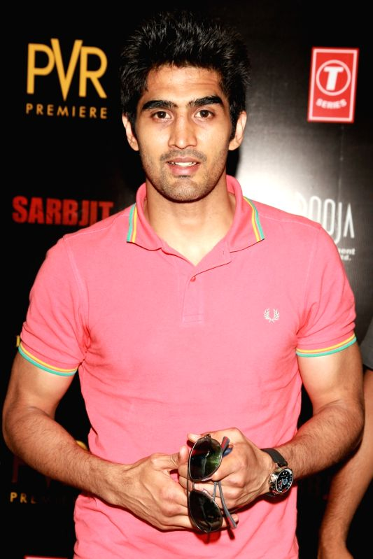 "Boxer Vijender Singh at premiere of ""Sarbjit"" in New Delhi on May 20, 2016. - Vijender Singh"