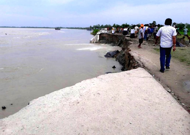 Brahmaputra river cuts land at Nimatighat in Jorhat district of Assam, on Jun 4, 2017.