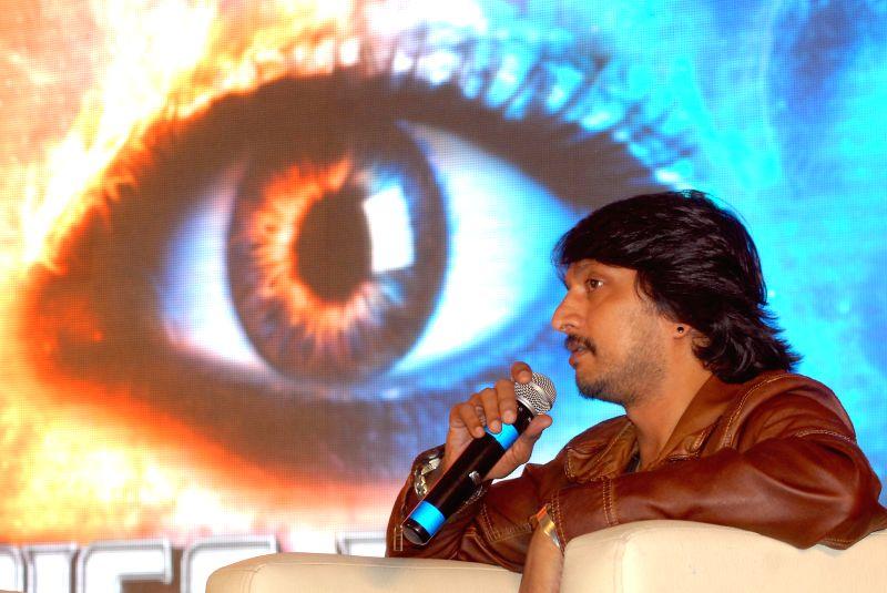 Brand Ambassador of Big Boss actor Sudeep addresses a press conference regarding Kannada Big-Boss season 2 in Bangalore on June 23, 2014. - Sudeep
