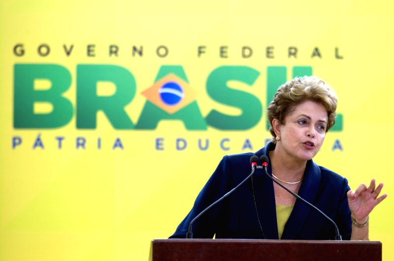 "Brazil's President Dilma Rousseff delivers a speech during a ceremony lauching the ""Bem Simples"" program at Planalto Palace, in Brasilia, Brazil, on Feb. ..."