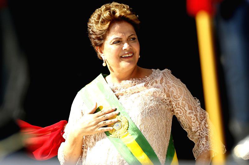 Brazilian President Dilma Rousseff reacts during the ceremony of inauguration at Palacio do Plenalto in Brasilia, Brazil, on Jan. 1, 2015. Brazil's President Dilma ..