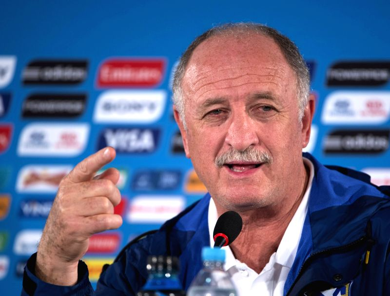 Brazil's coach Luiz Felipe Scolari reacts during a press conference at the Estadio Nacional Stadium in Brasilia, Brazil, on July 5, 2014. Brazil will play the 2014