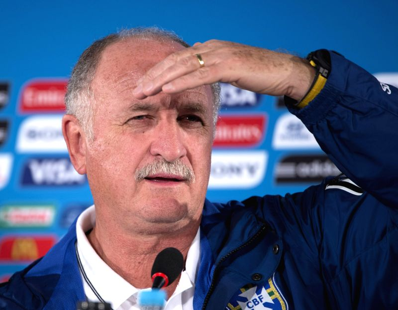 Brazil's coach Luiz Felipe Scolari looks on during a press conference at the Estadio Nacional Stadium in Brasilia, Brazil, on July 5, 2014. Brazil will play the ...