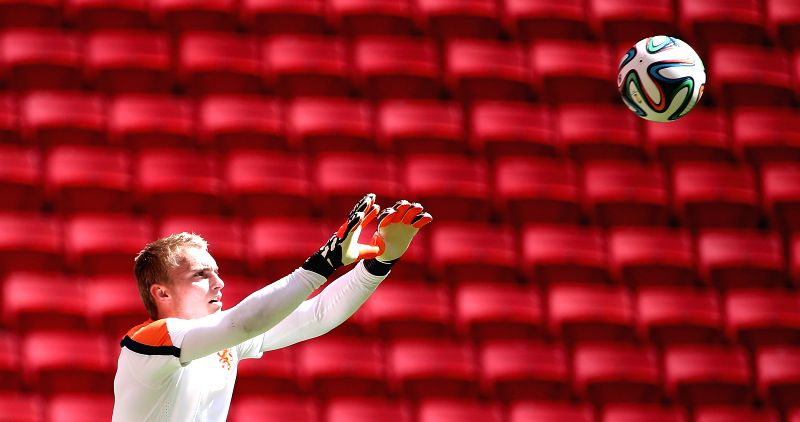 Jasper Cillessen, goalie of Netherlands attends a training session at the Estadio Nacional Stadium in Brasilia, Brazil, on July 5, 2014. Netherlands will play the .