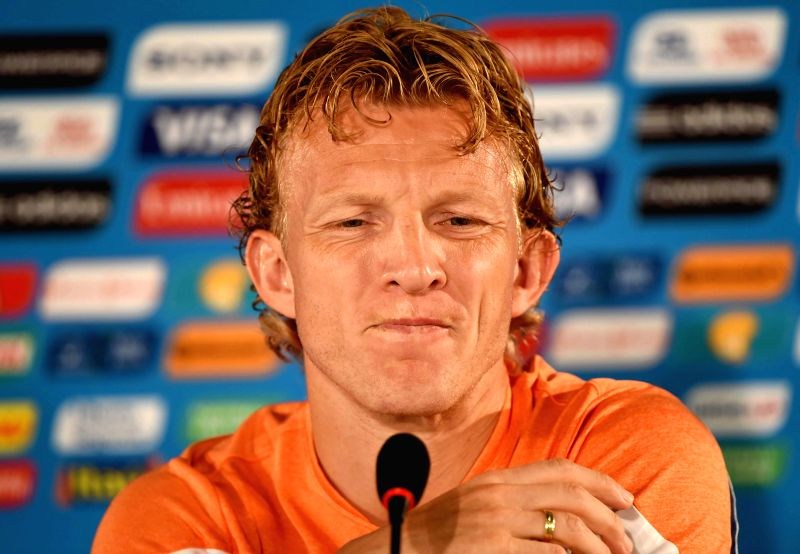 Netherlands' midfielder Dirk Kuyt reacts during a press conference at the Estadio Nacional Stadium in Brasilia, Brazil, on July 5, 2014. Netherlands will play the .