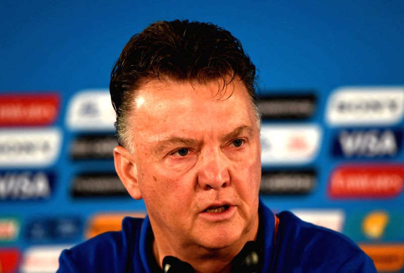 Netherlands' coach Louis van Gaal reacts during a press conference at the Estadio Nacional Stadium in Brasilia, Brazil, on July 5, 2014. Netherlands will play the .
