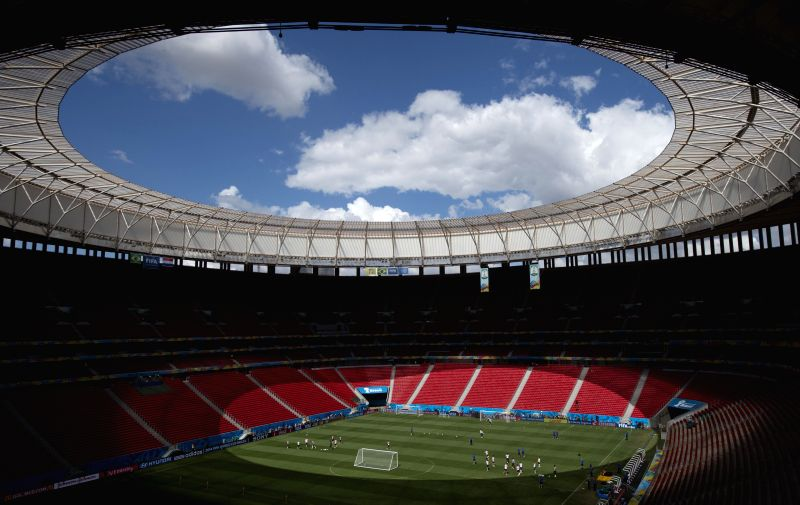 Players of Netherlands attend a training session at the Estadio Nacional Stadium in Brasilia, Brazil, on July 5, 2014. Netherlands will play the 2014 FIFA World ...