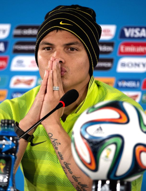 Thiago Silva of Brazil looks on during a press conference at the Estadio Nacional Stadium in Brasilia, Brazil, on July 5, 2014. Brazil will play the 2014 FIFA ...