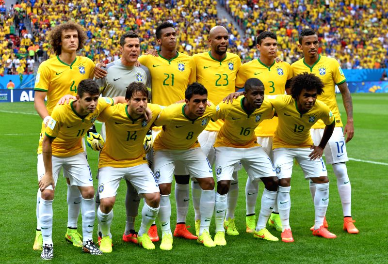 Brazil's players pose for a team photo before the third place play-off match between Brazil and Netherlands of 2014 FIFA World Cup at the Estadio Nacional Stadium .
