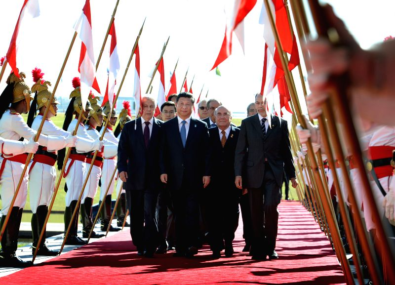 Chinese President Xi Jinping arrives at the National Congress in Brasilia, Brazil, on July 16, 2014. Xi on Wednesday met with Brazilian Senate President Renan ...