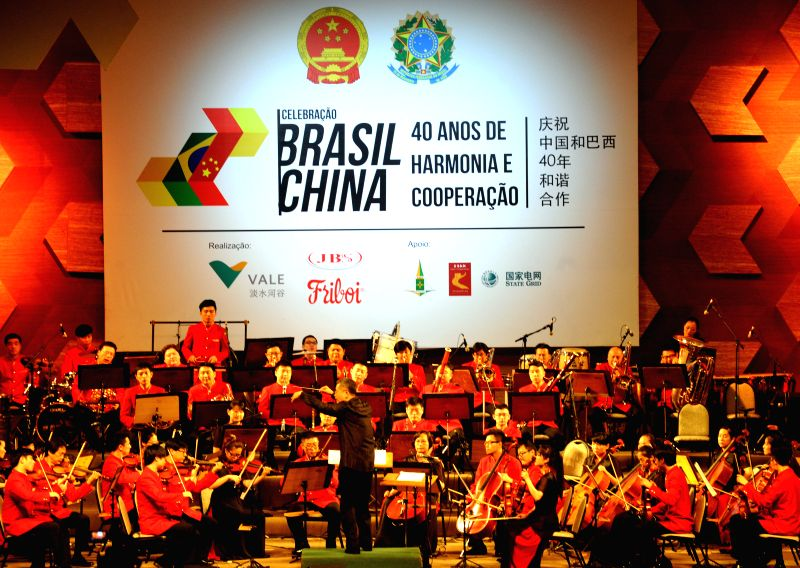 Chinese Zhejiang Symphony Orchestra performs during a concert marking the 40th anniversary of establishment of China-Brazil diplomatic relations, in Brasilia, ...