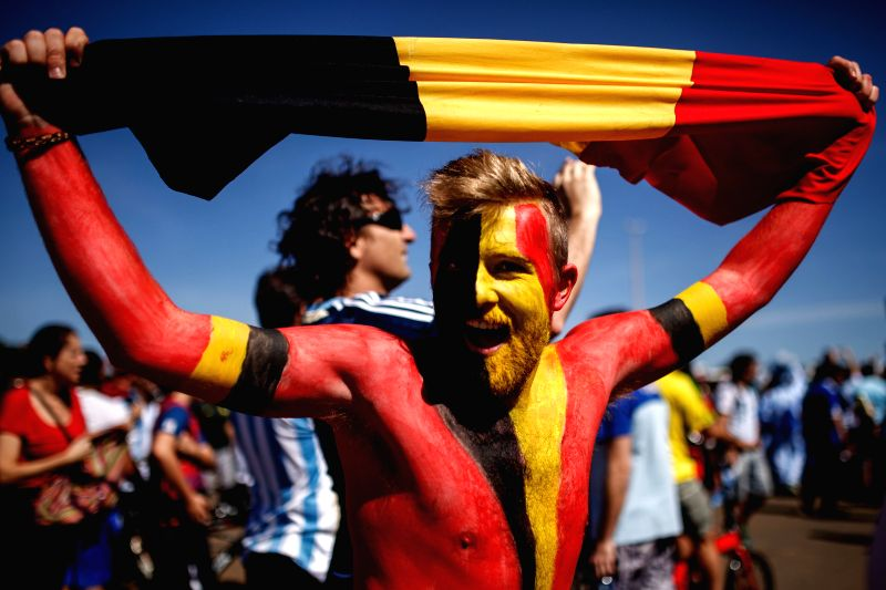 A Belgium's fan poses before a quarter-finals match between Argentina and Belgium of 2014 FIFA World Cup in Brasilia, Brazil, on July 5, 2014.(Xinhua/Jhon ...