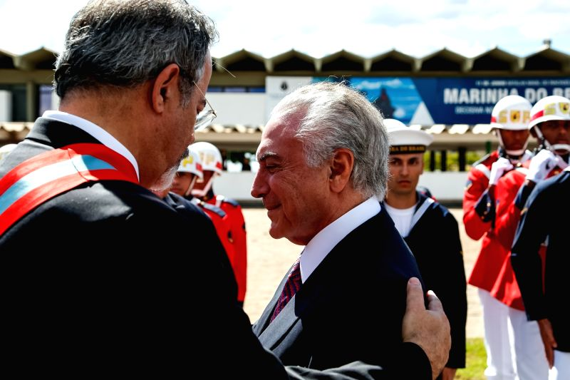BRASILIA, June 10, 2017 - Image provided by the Brazilian Presidency shows Brazilian President Michel Temer (R F) taking part in the ceremony marking the 152nd anniversary of the Riachuelo naval ...