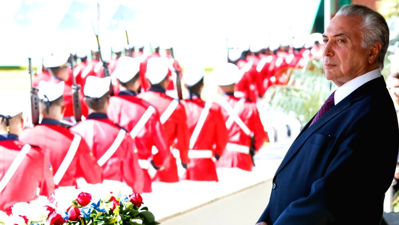 BRASILIA, June 10, 2017 - Image provided by the Brazilian Presidency shows Brazilian President Michel Temer taking part in the ceremony marking the 152nd anniversary of the Riachuelo naval battle, in ...
