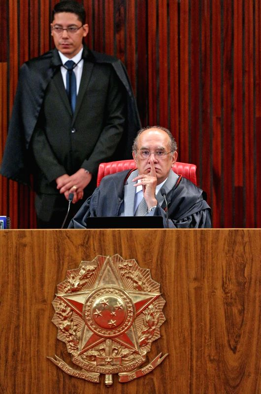 BRASILIA, June 7, 2017 - Gilmar Mendes (front), president of Brazil's Superior Electoral Court (TSE), takes part in a session of a trial in Brasilia, Brazil, on June 6, 2017. Brazil's Superior ...