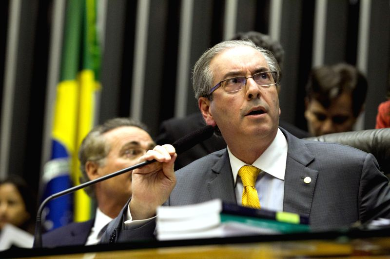 President of the Chamber of Deputies, Eduardo Cunha, takes part in a Congress session, in Brasilia, Brazil, on March 11, 2015. (Xinhua/Ed Ferreira/Estadao ...