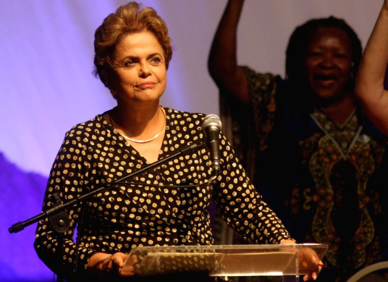 BRASILIA, May 11, 2016 - Brazil's President Dilma Rousseff (Front) takes part in the 4th National Conference of Policy for Women in Brasilia, capital of Brazil, on May 10, 2016.