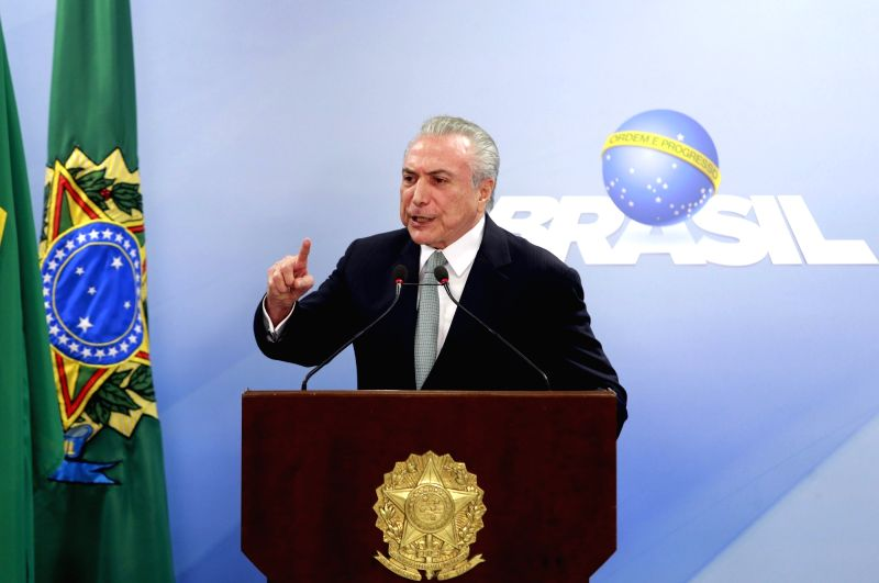 BRASILIA, May 18, 2017 - Brazilian President Michel Temer issues a statement at Planalto Palace in Brasilia, capital of Brazil, on May 18, 2017. Brazilian President Michel Temer refused to resign on ...