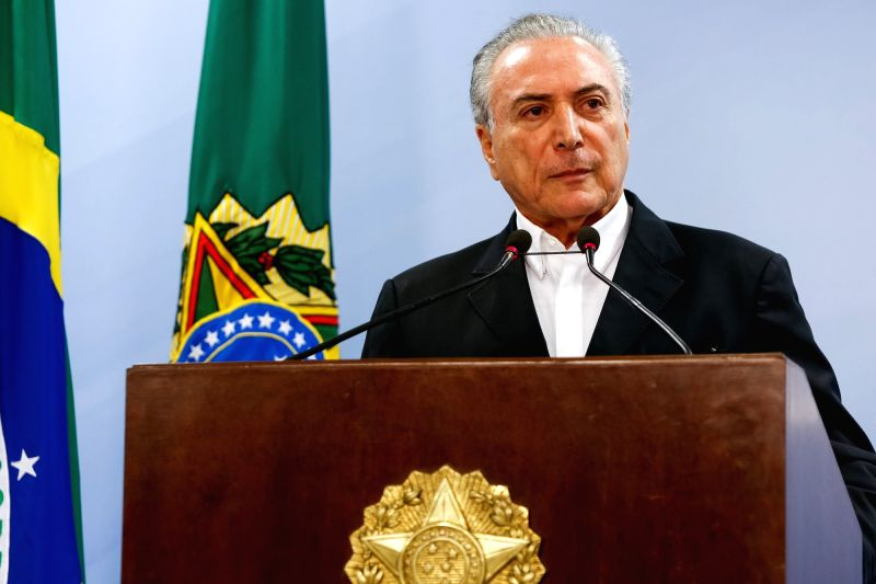 BRASILIA, May 21, 2017 - Photo provided by the Presidency of Brazil shows Brazilian President Michel Temer delivering a speech to the nation in Brasilia, Brazil, on May 20, 2017. Brazilian President ...