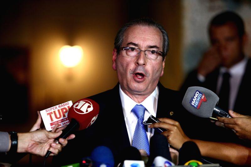 BRASILIA, May 5, 2016 - Suspended President of the Chamber of Deputies of Brazil, Eduardo Cunha, talks to media in Brasilia, Brazil, on May 5, 2016. Brazil's Supreme Court (STF) Justice Teori ...